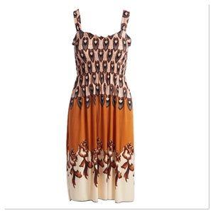 Tan Shirred A-Line Dress